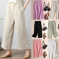 Women Soft Cotton Linen Wide Leg High Elastic Waist Casual Pants Loose Trousers