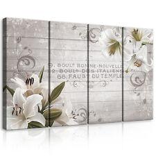 CANVAS Wandbild Leinwandbild Bild Weiss Blumen Lilie Bretter Holz 3FX10050S7
