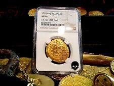 """MEXICO 1715 """"FULL DATE FLEET SHIPWRECK"""" 8 ESCUDOS NGC 58 GOLD COB TREASURE COIN"""