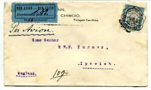 Mozambique 1933 1$.40 on commercial Air Mail Chimio, Portuguese East Africa to U