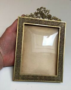 Antique French Bronze standing picture frame~Bronze Headpiece mount~Bubble Glass