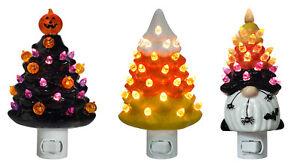 "6"" Retro Nostalgic Ceramic Halloween Tree Gnome Candy Corn Night Light 71208"