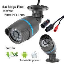 5MP Mega Pixel 2592*1920 Outdoor 24IR POE Network P2P Bullet CCTV IP Camera B