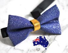 Men Women Royal Blue Shining Gold Faux Leather Handmade Bow Tie Bowtie Wedding