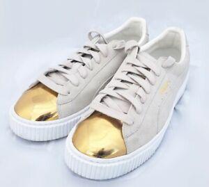 PUMA Size 10 Women's Suede Platform - Low Top - Gold Beige Tennis Shoes/Sneakers