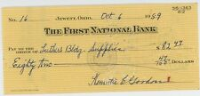 1959 First National Bank Check Jewett Ohio OH Banking Draft Note Banker