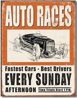 Vintage Auto Racing Ad Metal TIN Sign Retro Look Garage Bar Shop Wall Decor New