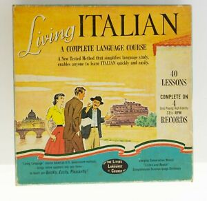 Boxed Living Italian A Complete Language Course 4 33 1/3 RPM Records 40 Lessons