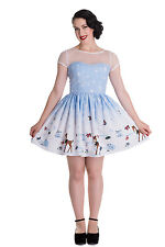 Hell Bunny Nevara Mini Dress Reindeer Pinup Snowflake Stars Christmas Xmas Party M - Uk12 Fr40 Eu38 Us8