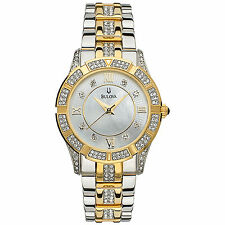 Bulova Women's Two Tone Crystal MOP Dial Watch 98L135 Tuning Fork