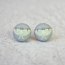 Luna Moth Fabric Button Earrings