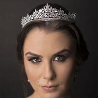 Sparkling Full Zircon Brides Tiara Crowns Crystal Wedding Hair Accessory