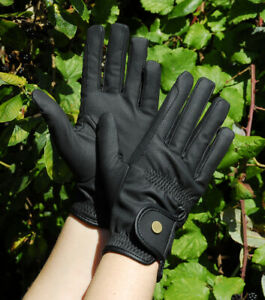 Rhinegold Leather Look Smart Winter Horse Riding Gloves - Black - Thinsulate