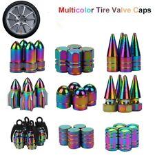 4PCS Neon lights Color Aluminum Car tire valve caps Bullet Grenade design Car