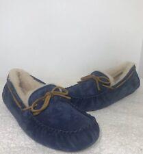 UGG Dakota Dark Denim Slippers Womens Size 12 Moccasins Shoe Suede Sheepskin