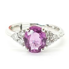 1.75 Ct Pink Sapphire And Diamond Ring, 18k White Gold