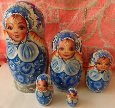 Superb quality Gzel Blue Wood Hand painted Russian Nesting Doll 5 Pcs 6.8""
