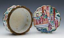 Antique Chinese Canton enamel Couvercle Boîte avec figures C.180