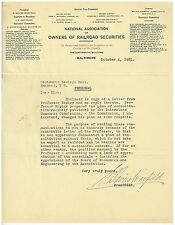 1921 ALS S. Davies Warfiled, Financier Railroad man, Inventor and Politician