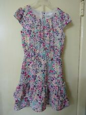 Girl's Size 6 Floral Print Dress Short Sleeve Back Button Lined Tiered