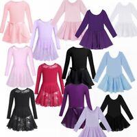 Kids Girls Gym Ballet Long Sleeve Leotard Bodysuit Tutu Skirt Dance Wear Costume