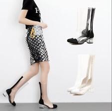 New Womens Mid Calf Boots Clear PVC Crystal Block Heels Summer Transparent Shoes