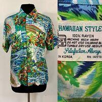 Vintage 60s Mens Blue Hawaiian Shirt Rayon Hawaiian Style ALOHA  Rainbow Medium