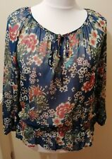 Next Semi Sheer Blue Floral Blouse Top Size 16 New With Tags RRP €34