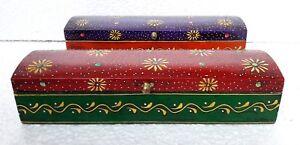 Wooden Box Handmade Embossed Painted Trinket Jewelry Storage Pencil Box Lot of 2