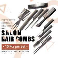 10Pcs/Set Beauty Salon Hair Styling Hairdressing Plastic Barbers Brush Combs AU