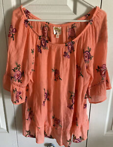 Fig and Flower Anthropologie Floral Embroidery Peach Rayon Blouse Tunic Shirt XL