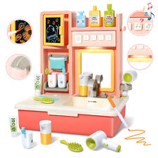 Pretend Play Set Waschbecken Spielzeug mit Haartrockner Spiegel Toy für Kinder
