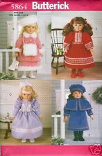 """Reduced!  Butterick 5864 OOP 18"""" DOLL HISTORICAL CLOTHING Pattern"""