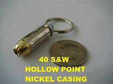 REAL BULLET KEYCHAIN 40S&W HOLLOW POINT (NICKEL CASING)