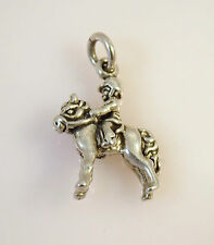 .925 Sterling Silver RIDING HORSE CHARM Pendant Child on Pony Horseback 925 HS11