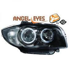 RHD LHD Projector Headlights Pair Angel Eyes Black BMW 1 Series E81 E87 04-11