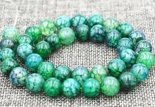 "New 10mm Green Dragon Veins Agate Round Gemstone Loose Beads 15"""