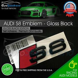 Audi S8 Emblem Gloss Black 3D Rear Trunk Lid OEM Badge S Line Logo Nameplate A8