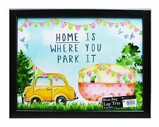 Car Caravan Summer Picnic Wooden Black Cushioned Bean Bag Lap Tray Food Laptop