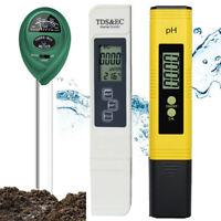 LCD Digital TDS&EC Water PH Pen Meter Soil Tester Temperature Monitor Tool ppm