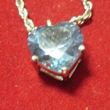 STERLING SILVER BLUE TOPAZ PENDANT WITH A 17 INCH CHAIN