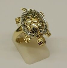 STUNNING LADIES 14CT SOLID GOLD CUBIC ZIRCONIA SET TURTLE TORTOISE DRESS RING