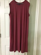 PL NWT Eileen Fisher ROSEWOOD Viscose Jersey Round Neck Calf Lenght Dress