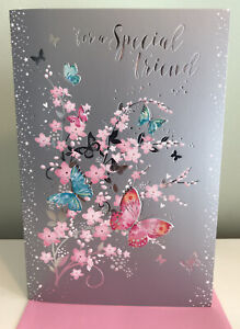 Special Friend FEMALE Birthday Card-Butterflies With Flowers New By Simon Elvin.