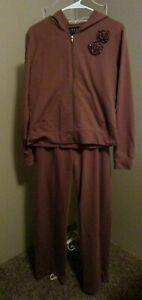 JKLA California Light Brown Cotton Blend 2 Piece Hoodie & Sweatpants - Size S
