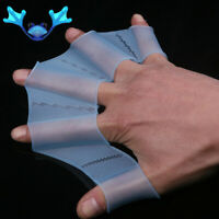 Silicone Hand Swimming Fins Flippers Swim Finger Webbed Gloves Paddle Glove US