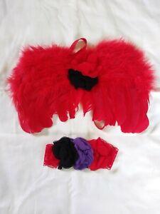 Newborn Baby RED ❤Angel Wings Headband Costume Photo Photography Props NWT