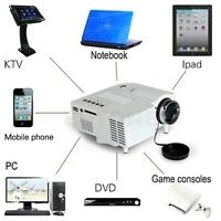 Multimedia LED LCD Projector HD 1080P PC TV VGA USB HDMI For Home Cinema Theater