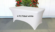 Trestle Table cover spandex Fitted White to fit 4 foot market fair folding lycra