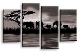 ELEPHANT WALL ART GREY BLACK WHITE SUNSET AFRICA SPLIT CANVAS PICTURES 112cm